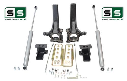 """2009 - 2014 Ford F-150 4"""" / 4"""" Lift Spindle Knuckle Blocks U-bolt Kit + SHOCKS"""
