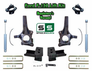 "2009 - 2014 Ford F-150 6.5"" / 3"" Lift Spindle Knuckle Blocks U-bolt Kit + SHOCKS"