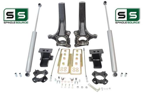 """2009 - 2014 Ford F-150 6"""" / 4"""" Lift Spindle Knuckle Blocks U-bolt Kit + SHOCKS"""