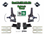 "2009 - 2014 Ford F-150 6"" / 2"" Lift Spindle Knuckle Blocks U-bolt Brakeline Kit"