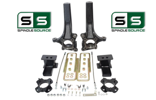 "2009 - 2014 Ford F-150 6"" / 4"" Lift Spindle Knuckle Blocks U-bolt Brakeline Kit"