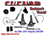 "2009 - 2016 Dodge Ram 1500 4"" / 3"" Spindle LIFT KIT (2wd ONLY) + SHOCKS"
