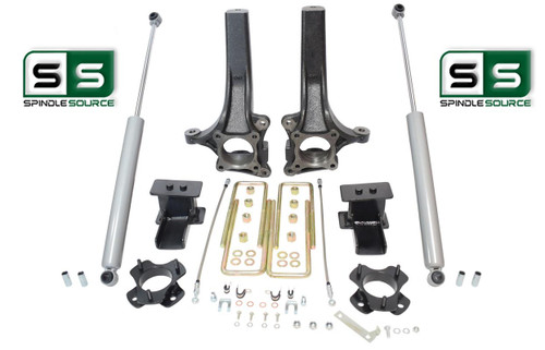 "2009 - 2014 Ford F-150 6.5"" / 4"" Lift Spindle Knuckle Blocks U-bolt Kit + SHOCKS"