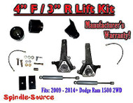 "2009 - 2016 Dodge Ram 1500 4"" / 3"" Spindle LIFT KIT (2wd ONLY) + Rear SHOCKS"