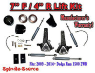 "2009 - 2016 Dodge Ram 1500 7"" / 4"" LIFT KIT (2wd ONLY) HEMI / Non-Hemi + SHOCKS"