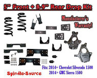 "2014-16 Chevy Silverado / GMC Sierra 1500 5"" / 8 - 9"" Drop Lower Kit + C-NOTCH"