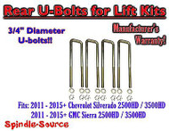 "2011-15 Chevy Silverado Sierra 2500 3500 U-bolts for 2"" or 3"" blocks 3/4"" Diam"