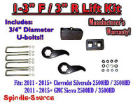 "2011-15 Chevy Silverado Sierra 2500 3500 1 -3""F / 3""R Torsion LIFT Keys KIT Ext"
