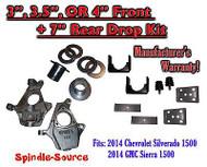 "2014-16 Chevrolet Chevy Silverado / GMC Sierra 1500 3"" - 4"" / 7"" Lowering Drop kit"