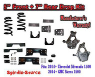 "2014-16 Chevy Silverado / GMC Sierra 1500 5"" / 7"" Drop Lower Kit + C-NOTCH"