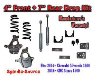 "2014-16 Chevy Silverado / GMC Sierra 1500 4"" / 7"" Drop Lowering Kit + SHOCKS"