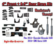 "2014-16 Chevy Silverado / GMC Sierra 1500 4"" / 8 - 9"" Drop Kit SHOCKS C-NOTCH"
