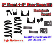 "2014-16 Chevrolet Chevy Silverado / GMC Sierra 1500 V8 3"" / 6"" Lowering Drop kit"