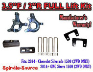 "2014+ Chevrolet Silverado GMC Sierra 1500 3.5"" inch / 2"" Spindle LIFT KIT 2WD"