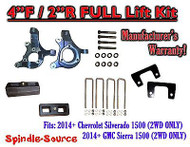 "2014+ Chevrolet Silverado GMC Sierra 1500 4"" inch / 2"" Spindle LIFT KIT 2WD"