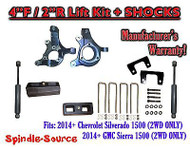 "2014+ Chevrolet Silverado GMC Sierra 1500 4"" / 2"" Spindle LIFT KIT + SHOCKS"
