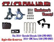 "2014+ Chevrolet Silverado GMC Sierra 1500 4"" inch / 4"" Spindle LIFT KIT 2WD"