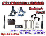 "2014+ Chevrolet Silverado GMC Sierra 1500 4"" / 4"" Spindle LIFT KIT + SHOCKS"