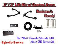 "2014+ Chevrolet Silverado GMC Sierra 1500 2"" inch / 2"" CONTROL ARM LIFT KIT"