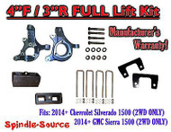 "2014+ Chevrolet Silverado GMC Sierra 1500 4"" inch / 3"" Spindle LIFT KIT 2WD"