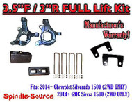 "2014+ Chevrolet Silverado GMC Sierra 1500 3.5"" / 3"" Spindle LIFT KIT + SHOCKS"