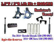 "2014+ Chevrolet Silverado GMC Sierra 1500 3.5"" / 2"" Spindle LIFT KIT + SHOCKS"