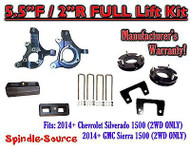 "2014+ Chevrolet Silverado GMC Sierra 1500 5.5"" inch / 2"" Spindle LIFT KIT 2WD"
