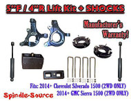 "2014+ Chevrolet Silverado GMC Sierra 1500 5"" / 4"" Spindle LIFT KIT + SHOCKS"
