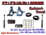 "2014+ Chevrolet Silverado GMC Sierra 1500 5"" / 3"" Spindle LIFT KIT + SHOCKS"