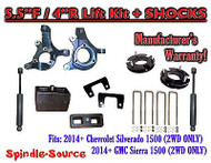 "2014+ Chevrolet Silverado GMC Sierra 1500 5.5"" / 4"" Spindle LIFT KIT + SHOCKS"