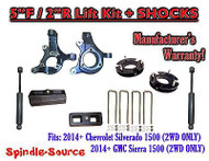 "2014+ Chevrolet Silverado GMC Sierra 1500 5"" / 2"" Spindle LIFT KIT + SHOCKS"
