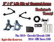 "2014+ Chevrolet Silverado GMC Sierra 1500 5"" / 4"" Spindle Lift KIT Control Arms"
