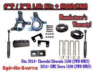"2014+ Chevrolet Silverado GMC Sierra 1500 6"" / 2"" Spindle LIFT KIT + SHOCKS"
