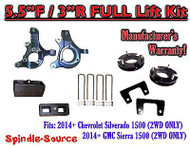 "2014+ Chevrolet Silverado GMC Sierra 1500 5.5"" inch / 3"" Spindle LIFT KIT 2WD"