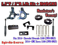 "2014+ Chevrolet Silverado GMC Sierra 1500 5.5"" / 2"" Spindle LIFT KIT + SHOCKS"