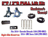 "2014+ Chevrolet Silverado GMC Sierra 1500 5"" inch / 2"" Spindle LIFT KIT 2WD"