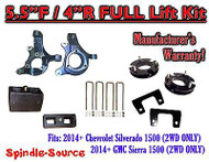 "2014+ Chevrolet Silverado GMC Sierra 1500 5.5"" inch / 4"" Spindle LIFT KIT 2WD"