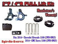 "2014+ Chevrolet Silverado GMC Sierra 1500 5"" inch / 4"" Spindle LIFT KIT 2WD"