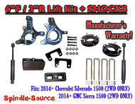 "2014+ Chevrolet Silverado GMC Sierra 1500 6"" / 3"" Spindle LIFT KIT + SHOCKS"