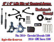 "2014+ Chevy Silverado 1500 GMC Sierra 6"" / 4"" Spindle Lift Control Arms + SHOCKS"