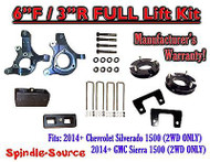 "2014+ Chevrolet Silverado GMC Sierra 1500 6"" inch / 3"" Spindle LIFT KIT 2WD"