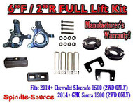 "2014+ Chevrolet Silverado GMC Sierra 1500 6"" inch / 2"" Spindle LIFT KIT 2WD"