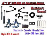 "2014+ Chevy Silverado 1500 GMC Sierra 6"" / 3"" Spindle Lift Control Arms + SHOCKS"