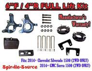 "2014+ Chevrolet Silverado GMC Sierra 1500 6"" inch / 4"" Spindle LIFT KIT 2WD"