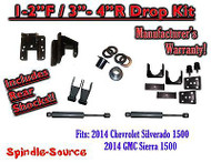 2014-16 Chevy Silverado GMC Sierra 1/3 - 2/4 FULLY Adjustable Lowering Kit+ SHOCKS