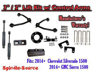 "2014+ Chevy Silverado GMC Sierra 1500 3"" inch / 2"" CONTROL ARM LIFT KIT + SHOCKS"