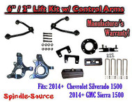 "2014+ Chevy Silverado GMC Sierra 1500 6"" / 2"" Spindle 2WD Lift KIT Control Arms"