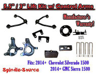 "2014+ Chevy Silverado GMC Sierra 1500 5.5"" / 3"" Spindle Lift KIT Control Arms"