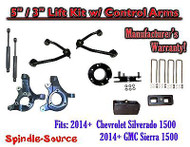 "2014+ Chevy Silverado GMC Sierra 1500 5"" / 3"" Spindle Lift Control Arms + SHOCKS"