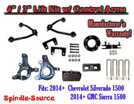 "2014+ Chevy Silverado GMC Sierra 1500 6"" / 3"" Spindle 2WD Lift KIT Control Arms"